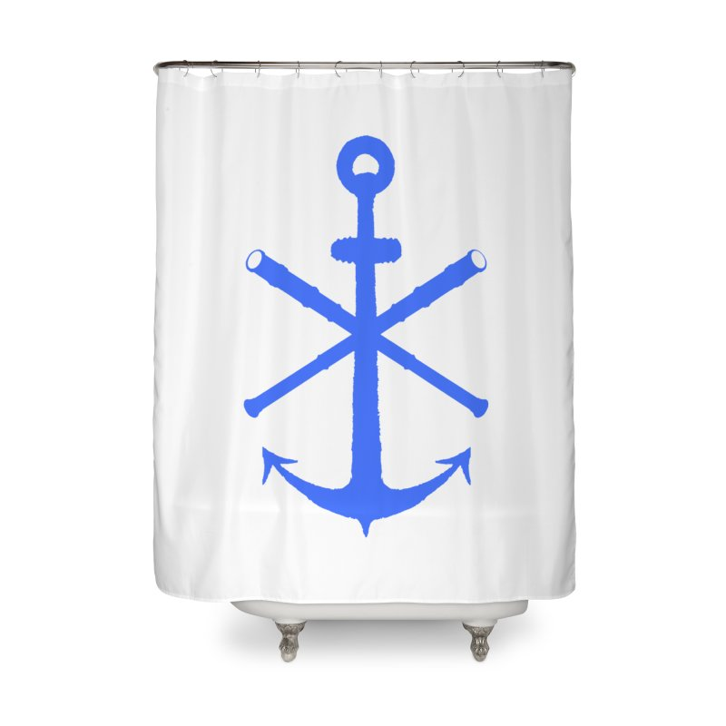 All Ways But Still Oversized Logo - Blue Home Shower Curtain by Sailor James
