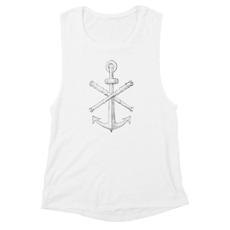 ALL WAYS BUT STILL Oversized Logo - Drawing Women's Muscle Tank by Sailor James