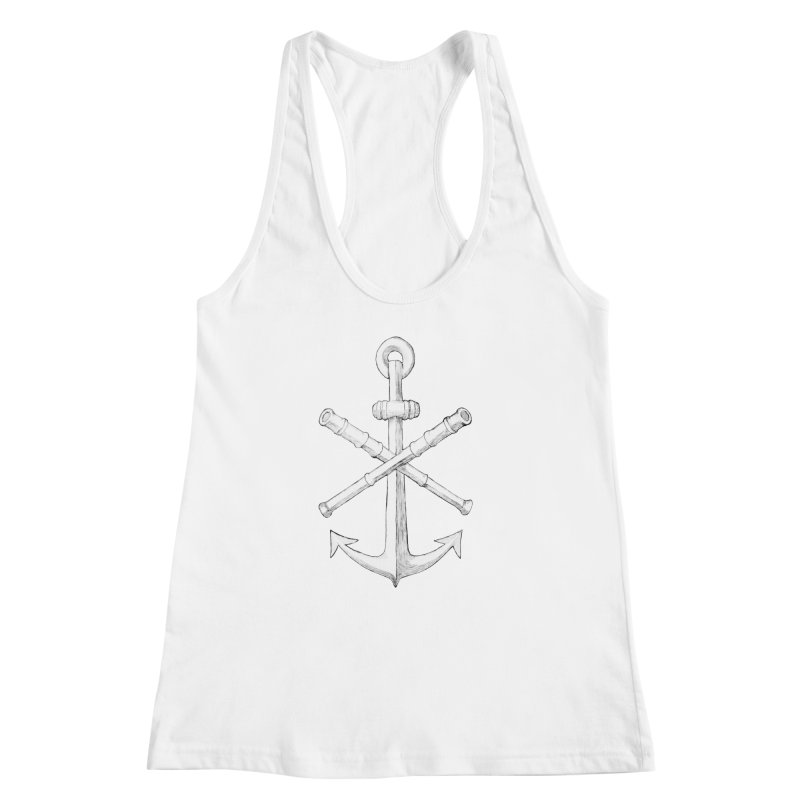 ALL WAYS BUT STILL Oversized Logo - Drawing Women's Racerback Tank by Sailor James
