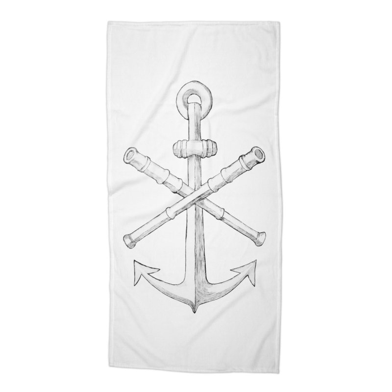 ALL WAYS BUT STILL Oversized Logo - Drawing Accessories Beach Towel by Sailor James