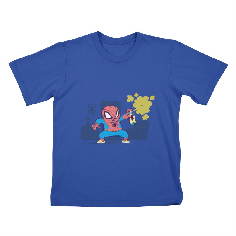 Spidey's cleaning Kids T-shirt by swampfactory