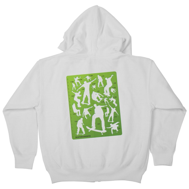 Skateboarders Stencil Kids Zip-Up Hoody by swarm's Artist Shop