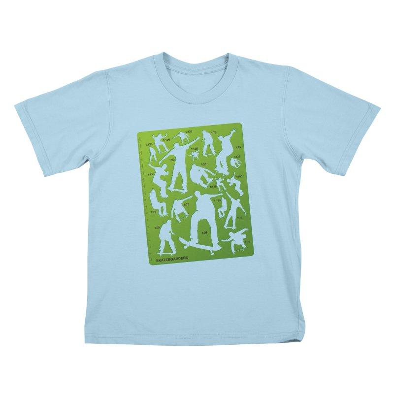 Skateboarders Stencil Kids T-shirt by swarm's Artist Shop