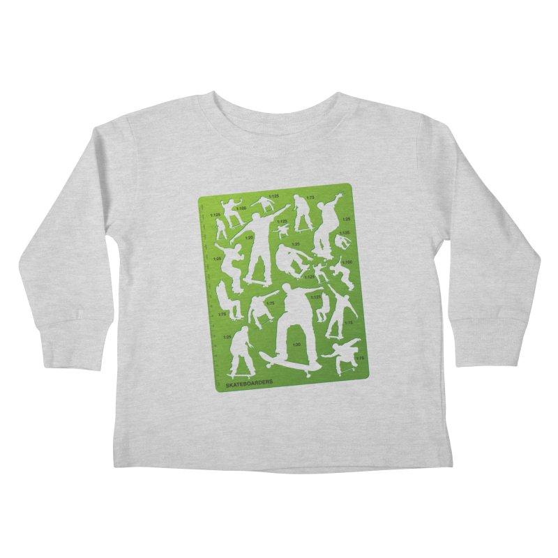 Skateboarders Stencil Kids Toddler Longsleeve T-Shirt by swarm's Artist Shop