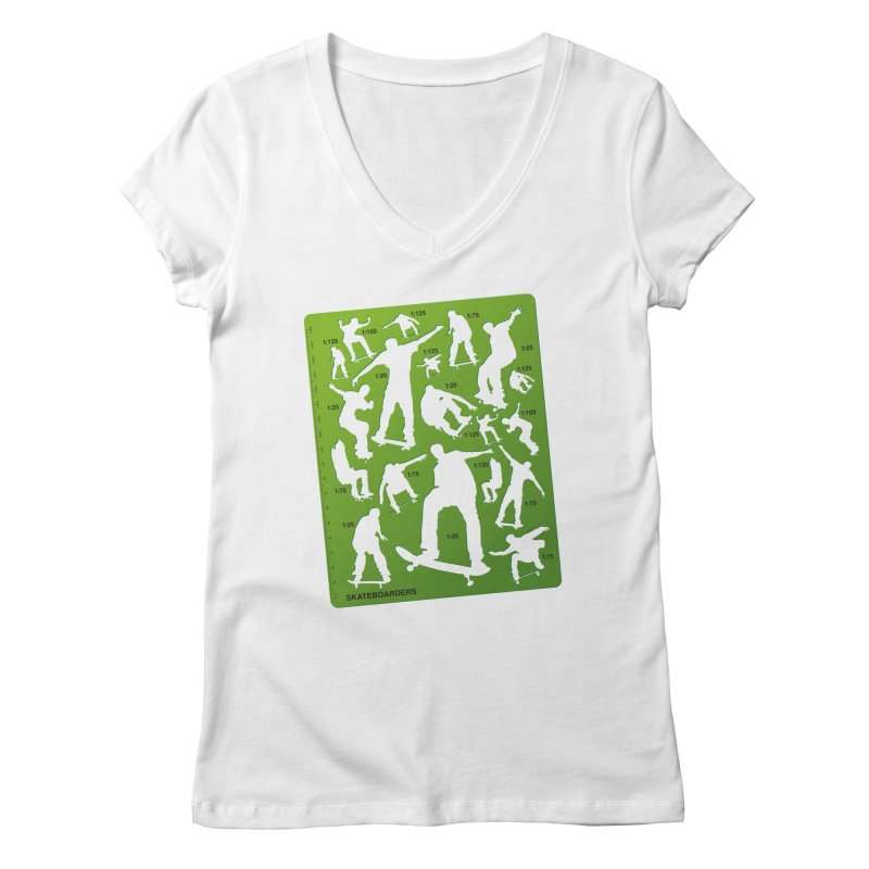 Skateboarders Stencil Women's V-Neck by swarm's Artist Shop