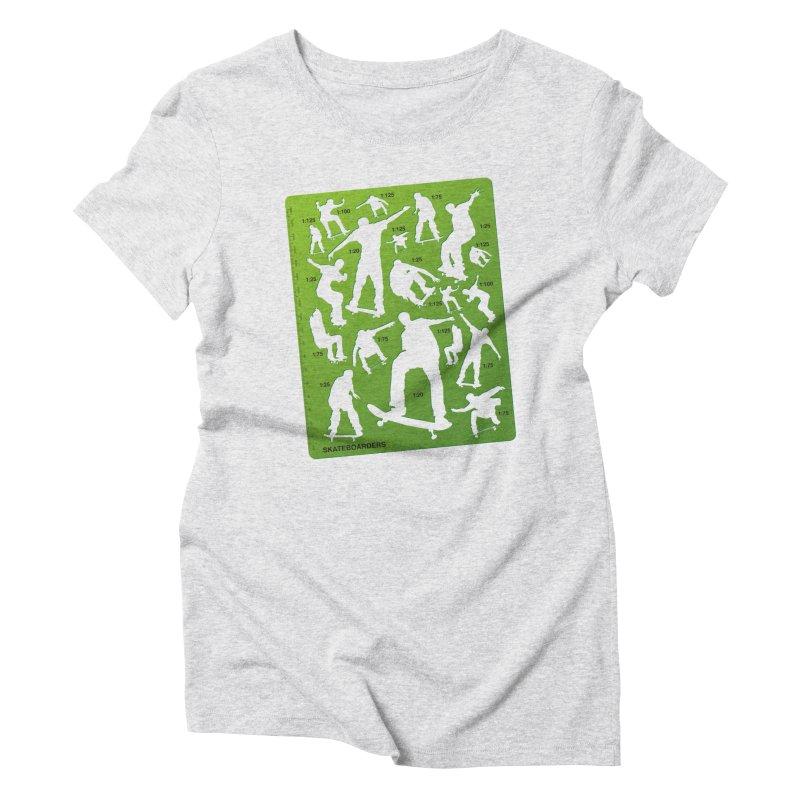 Skateboarders Stencil Women's Triblend T-shirt by swarm's Artist Shop