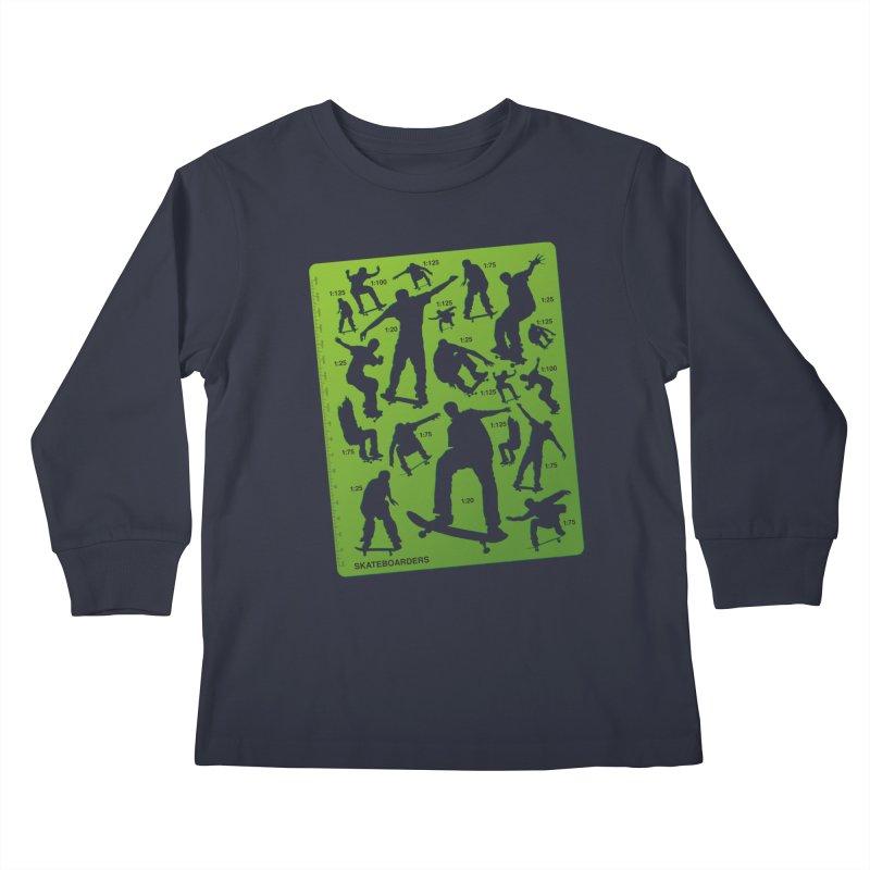 Skateboarders Stencil Kids Longsleeve T-Shirt by swarm's Artist Shop