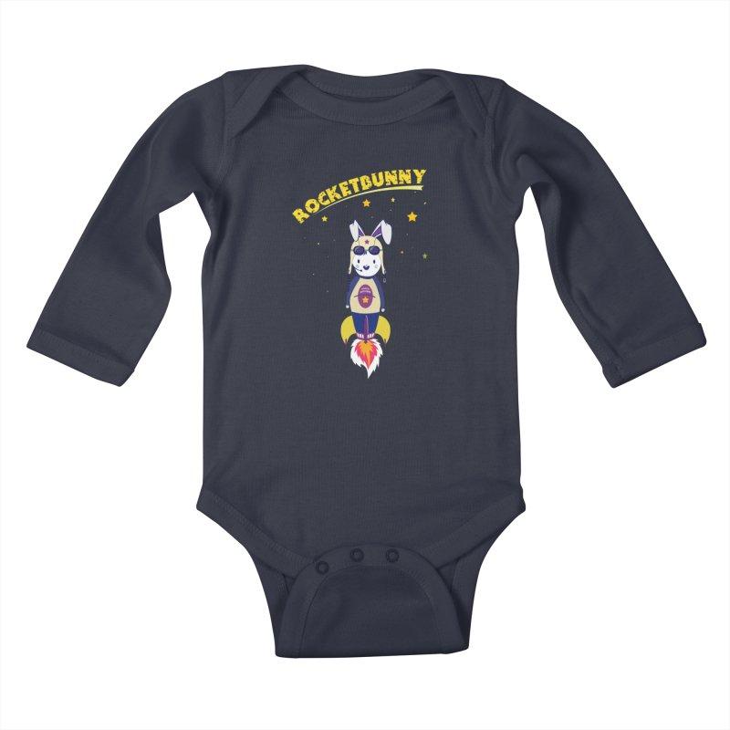 Rocket Bunny Kids Baby Longsleeve Bodysuit by Swear's Artist Shop