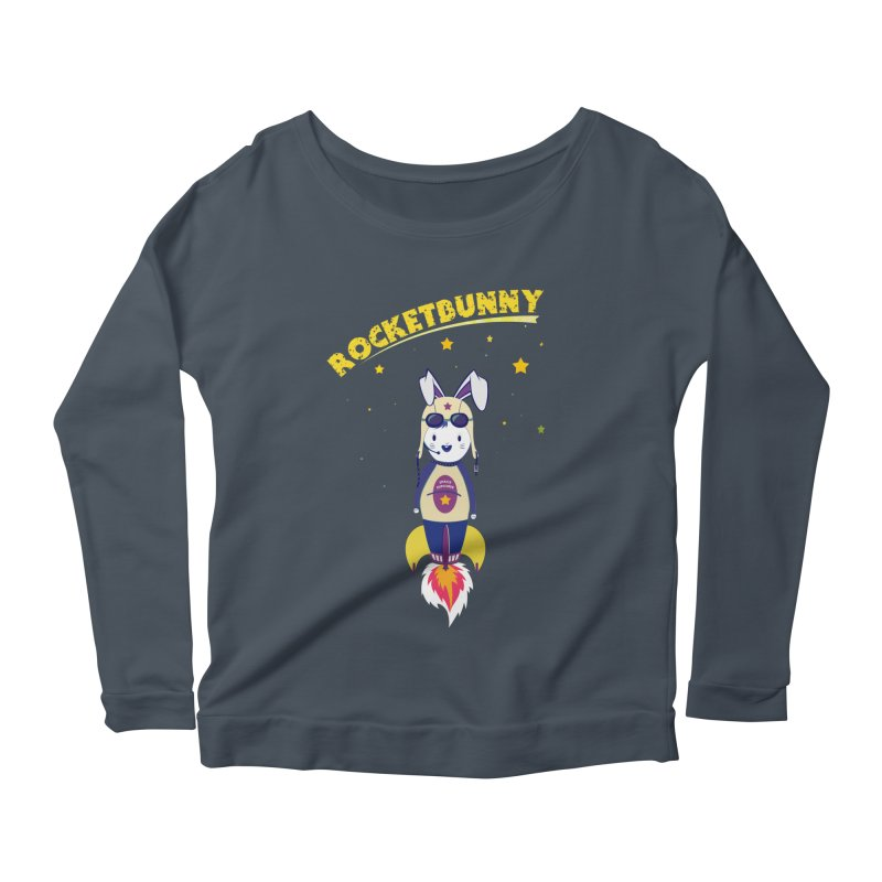 Rocket Bunny Women's Longsleeve Scoopneck  by Swear's Artist Shop