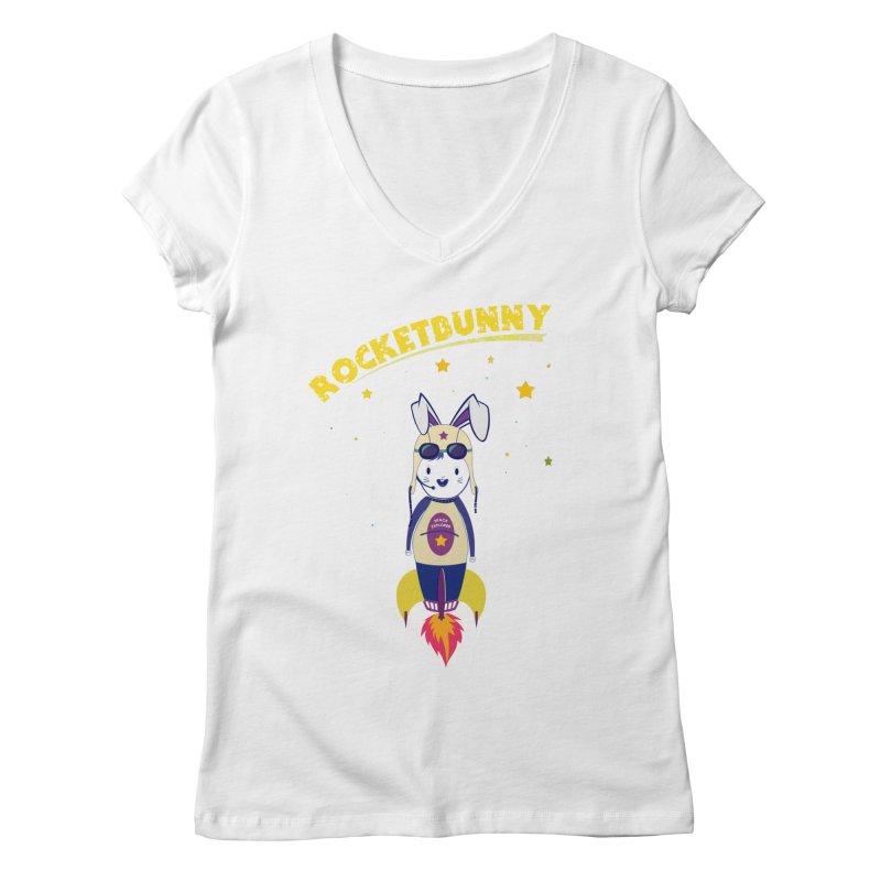 Rocket Bunny Women's V-Neck by Swear's Artist Shop