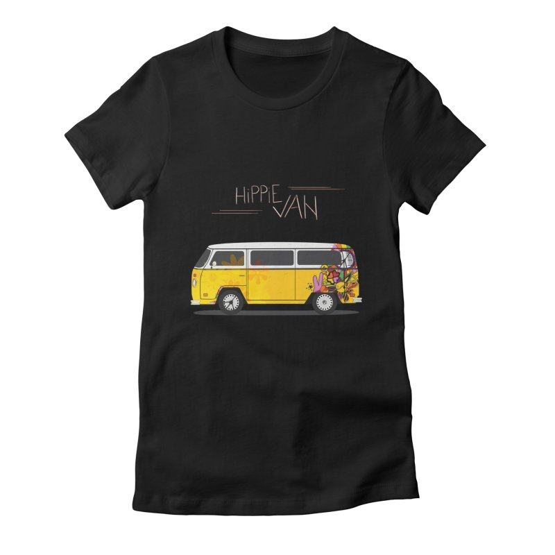 Hippie Van Women's Fitted T-Shirt by Swear's Artist Shop