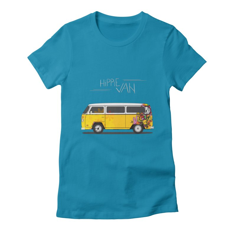Hippie Van Women's Fitted T-Shirt by Swear's Artist Shop