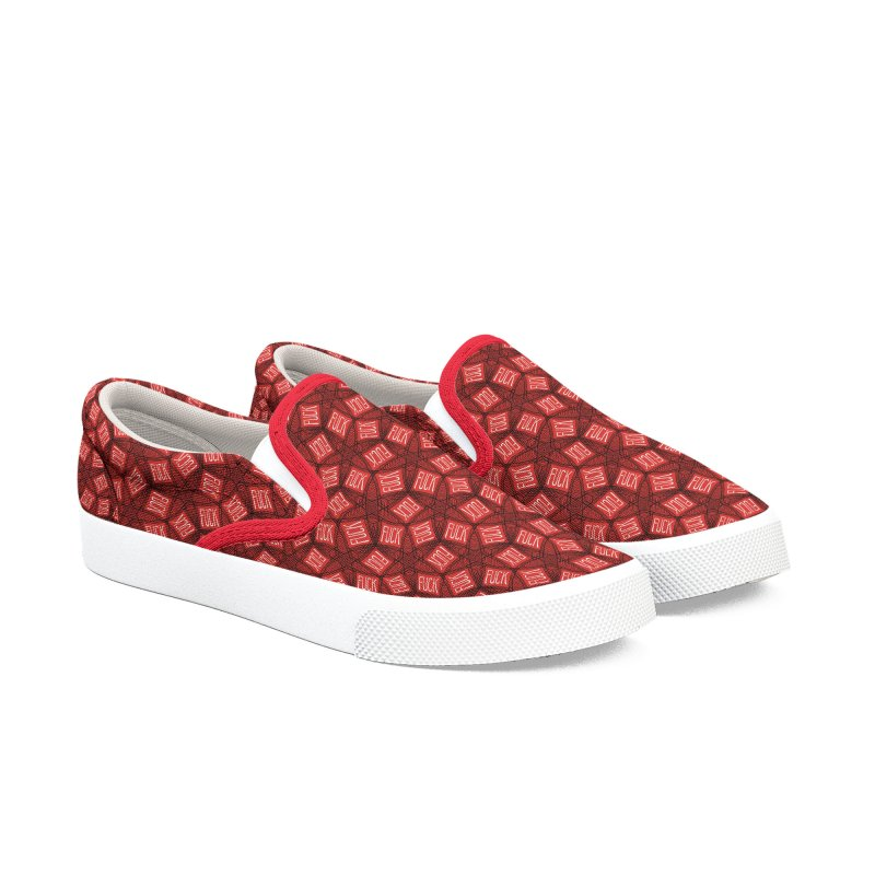 Red Fucks Women's Slip-On Shoes by Swearing Pattern Shoes