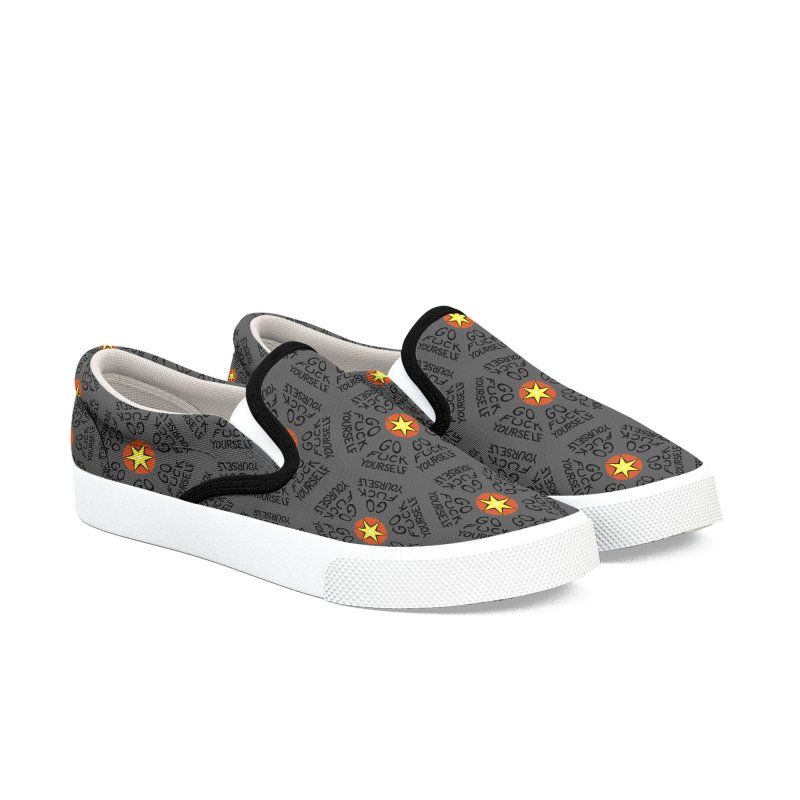 Go Fuck Yourself in Men's Slip-On Shoes by Swearing Pattern Shoes