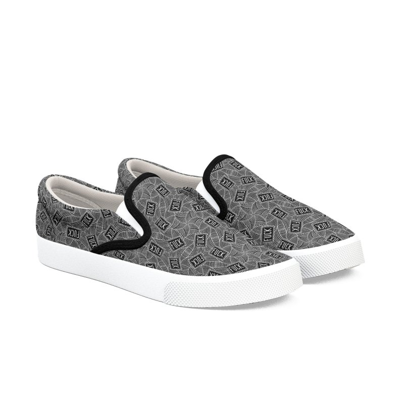 Fuck Swirls Monochrome in Men's Slip-On Shoes by Swearing Pattern Shoes