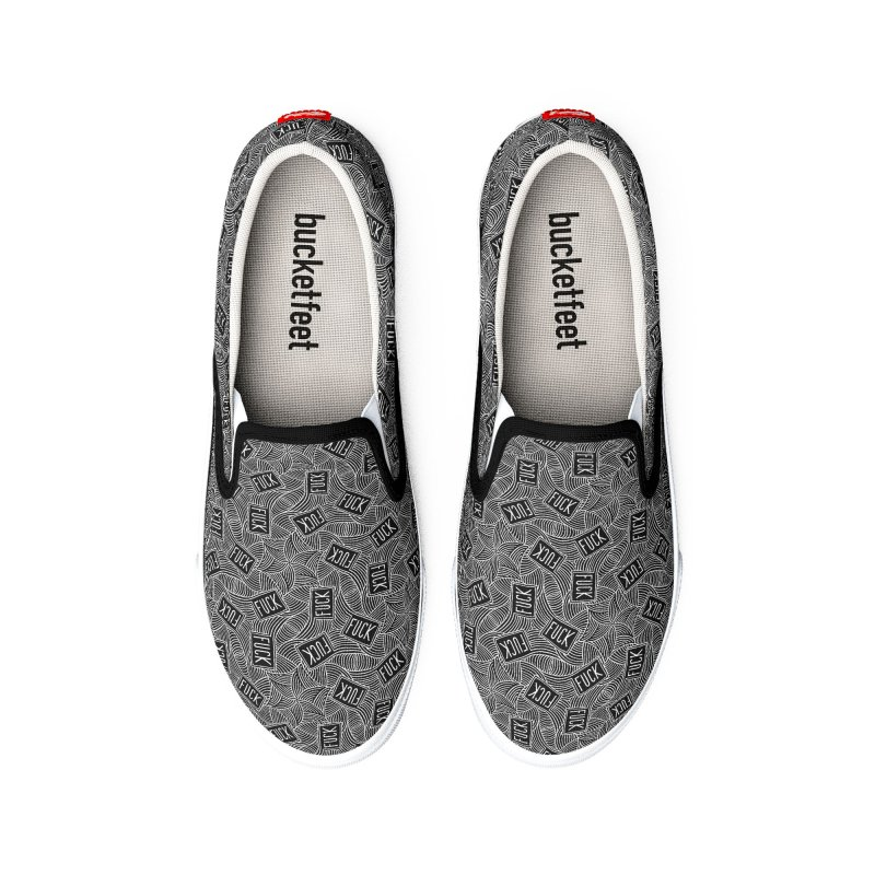 Fuck Swirls Monochrome Women's Shoes by Swearing Pattern Shoes