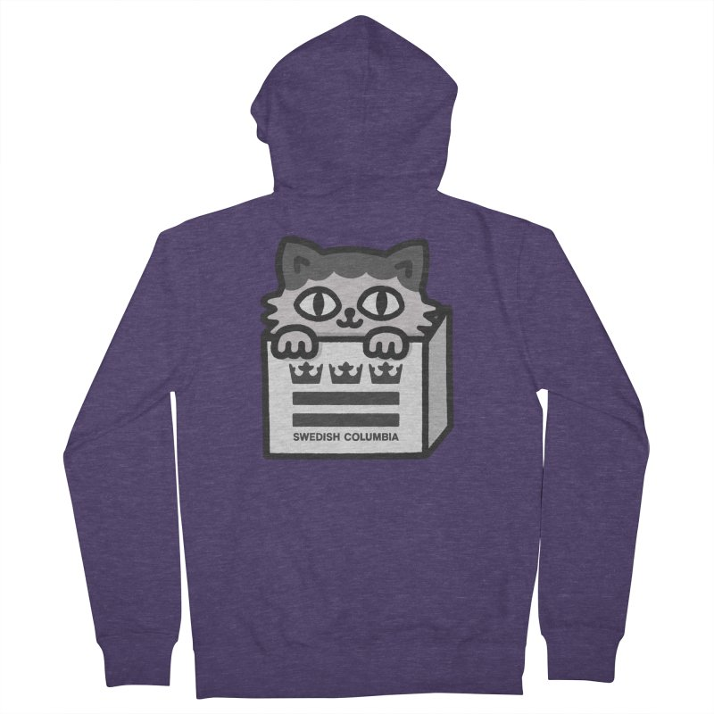 Swedish Columbia - Cat in a box Men's French Terry Zip-Up Hoody by Swedish Columbia's Artist Shop