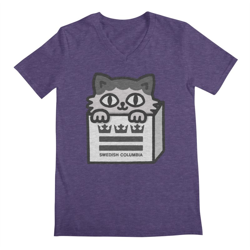Swedish Columbia - Cat in a box Men's Regular V-Neck by Swedish Columbia's Artist Shop