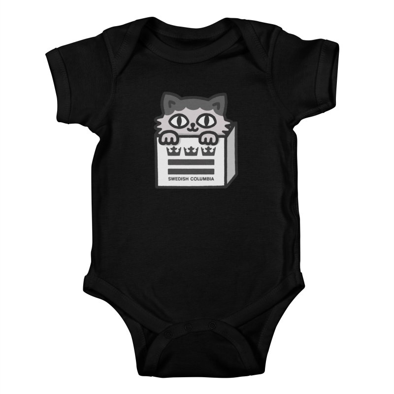 Swedish Columbia - Cat in a box Kids Baby Bodysuit by Swedish Columbia's Artist Shop