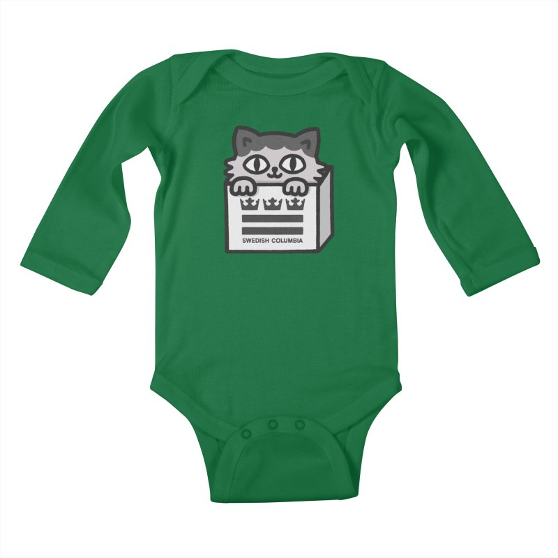 Swedish Columbia - Cat in a box Kids Baby Longsleeve Bodysuit by Swedish Columbia's Artist Shop