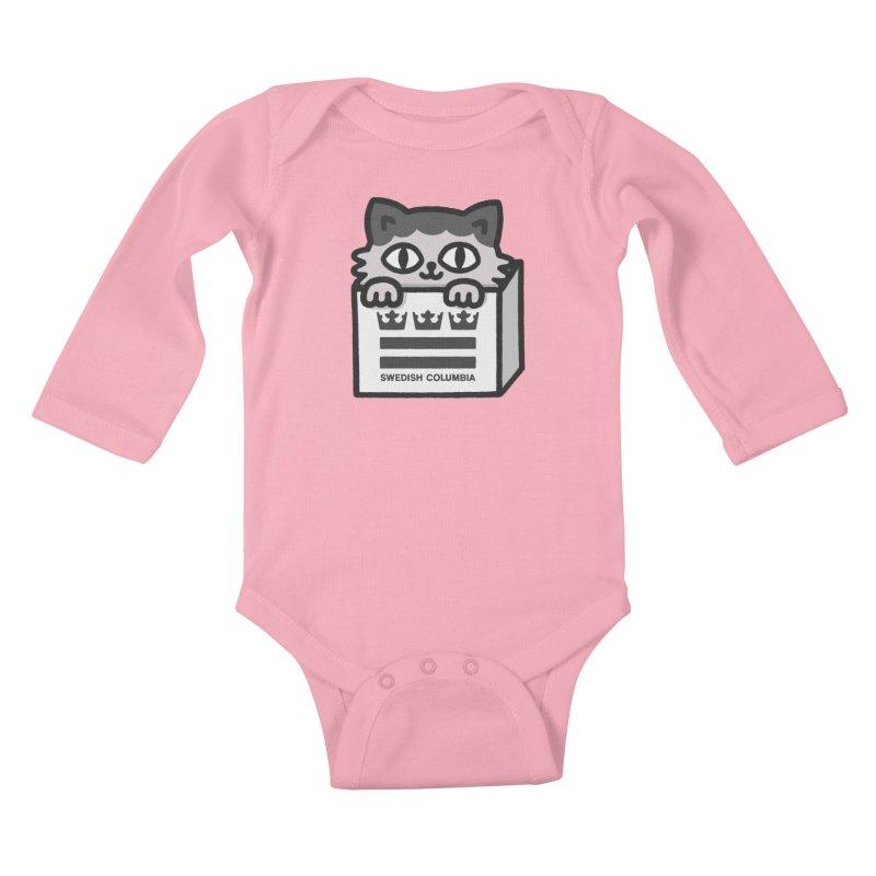 Swedish Columbia - Cat in a box Kids Baby Longsleeve Bodysuit by Swedish Columbia's Artist Shop