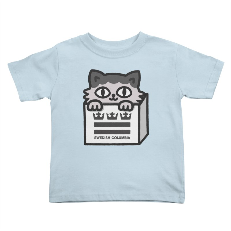 Swedish Columbia - Cat in a box Kids Toddler T-Shirt by Swedish Columbia's Artist Shop