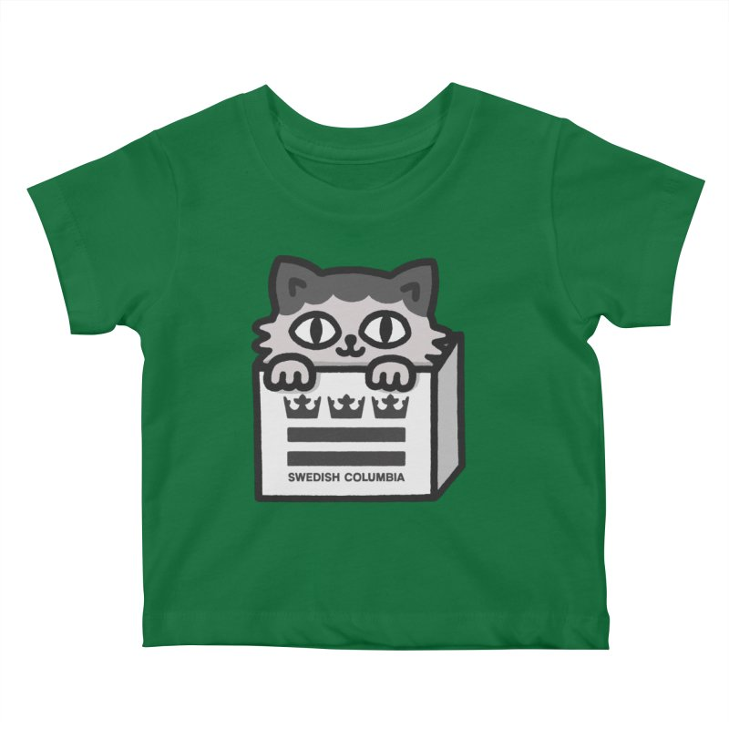 Swedish Columbia - Cat in a box Kids Baby T-Shirt by Swedish Columbia's Artist Shop