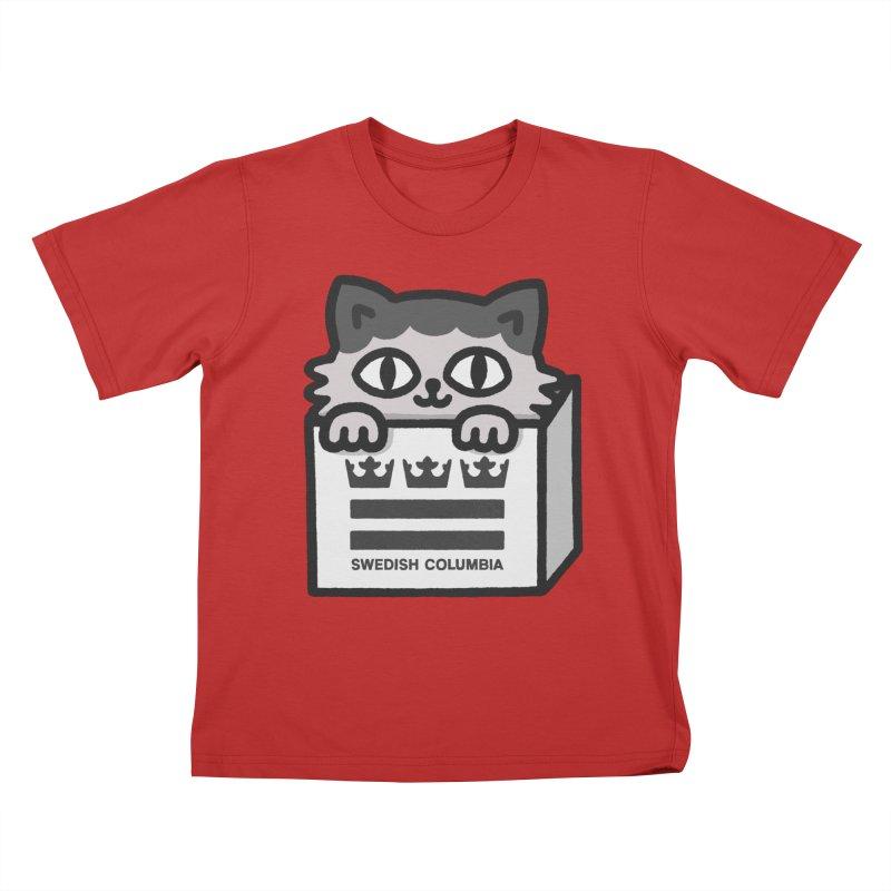 Swedish Columbia - Cat in a box Kids T-Shirt by Swedish Columbia's Artist Shop