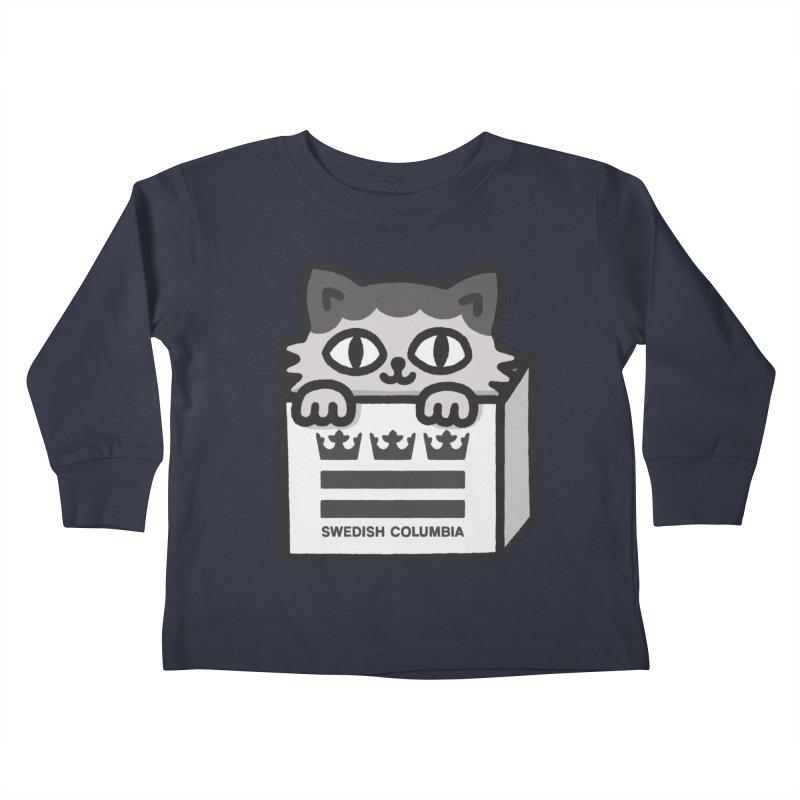 Swedish Columbia - Cat in a box Kids Toddler Longsleeve T-Shirt by Swedish Columbia's Artist Shop