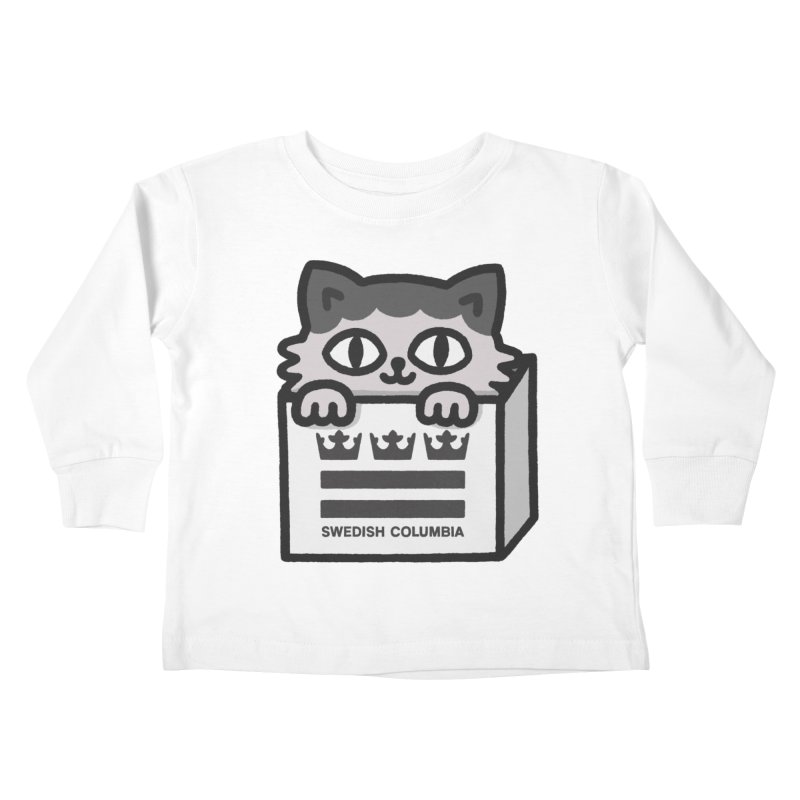 Swedish Columbia - Cat in a box Kids Toddler Longsleeve T-Shirt by Swedish Columbia's Artist Shop