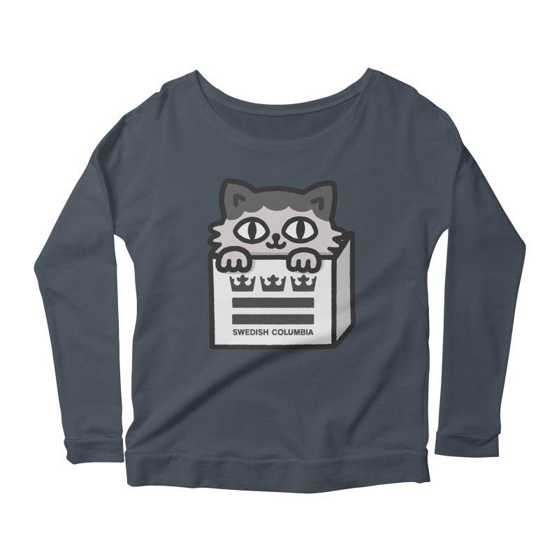 Swedish Columbia - Cat in a box Women's Scoop Neck Longsleeve T-Shirt by Swedish Columbia's Artist Shop