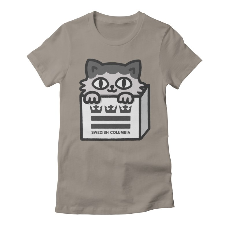 Swedish Columbia - Cat in a box Women's Fitted T-Shirt by Swedish Columbia's Artist Shop