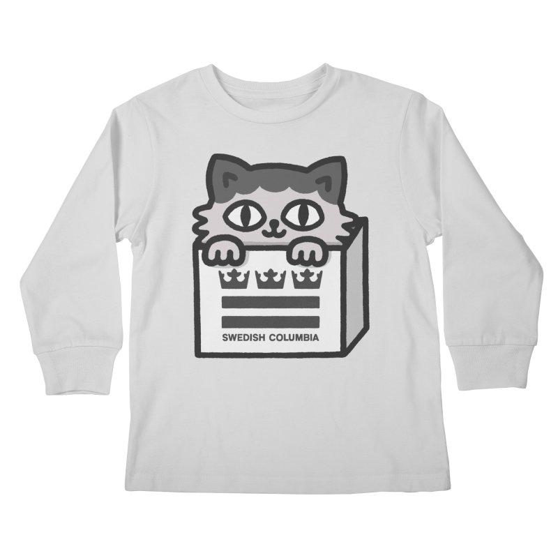 Swedish Columbia - Cat in a box Kids Longsleeve T-Shirt by Swedish Columbia's Artist Shop