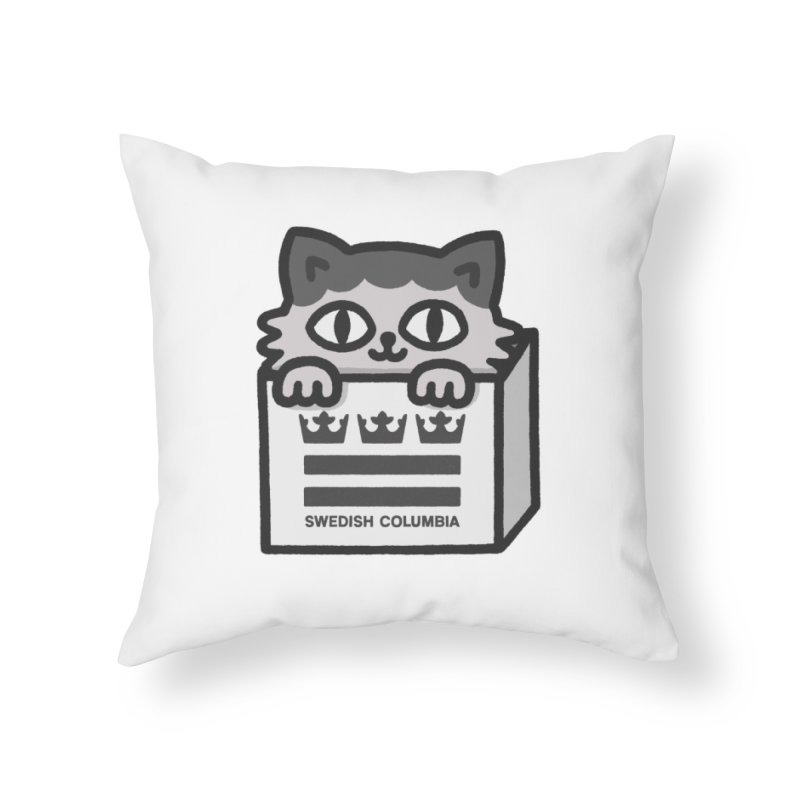 Swedish Columbia - Cat in a box Home Throw Pillow by Swedish Columbia's Artist Shop