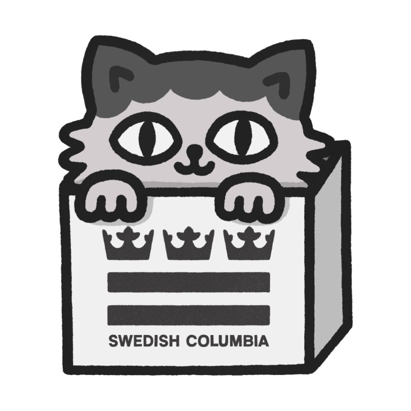 Swedish Columbia cat in a box small Accessories Sticker by Swedish Columbia's Artist Shop