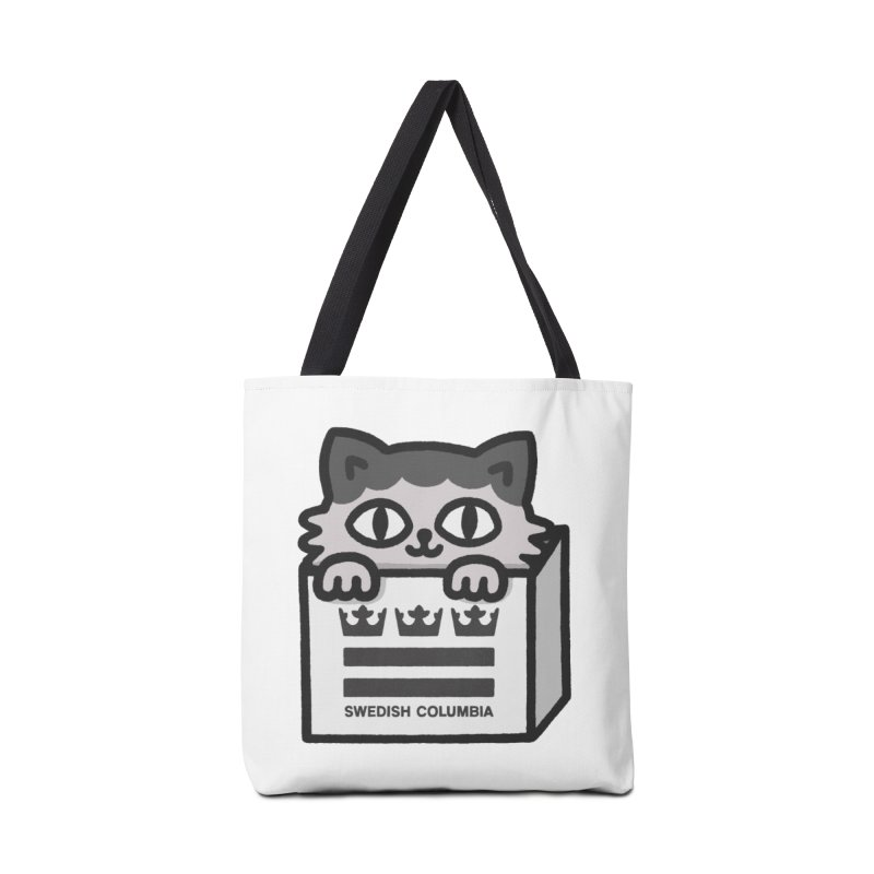 Swedish Columbia cat in a box small Accessories Tote Bag Bag by Swedish Columbia's Artist Shop