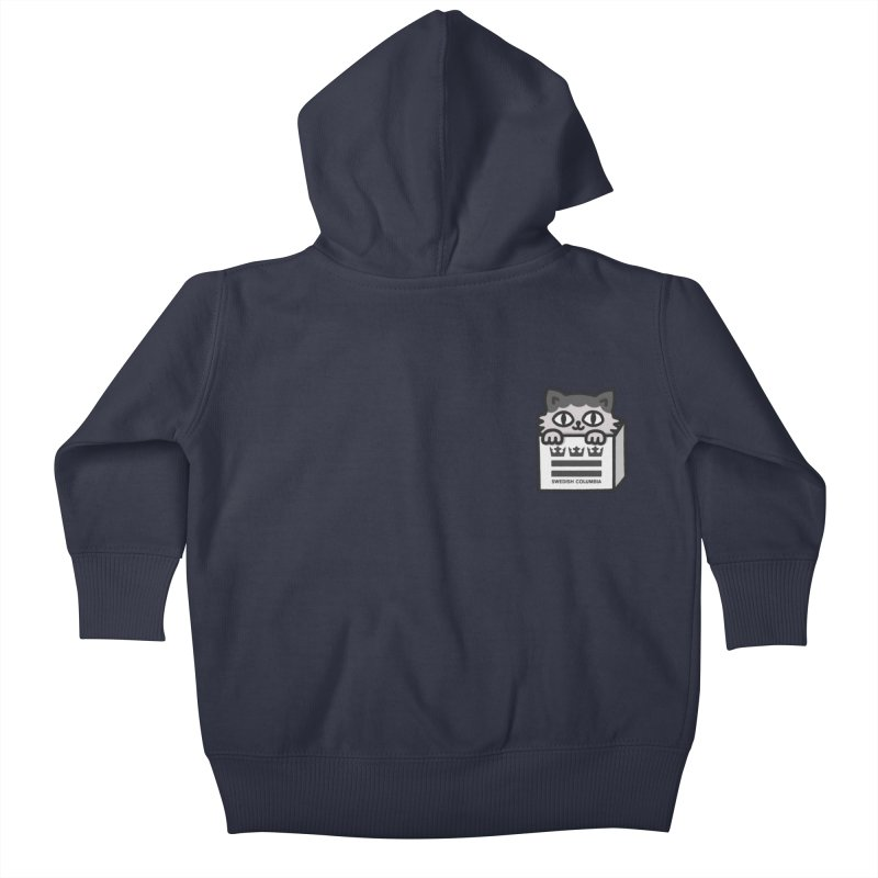 Swedish Columbia cat in a box small Kids Baby Zip-Up Hoody by Swedish Columbia's Artist Shop