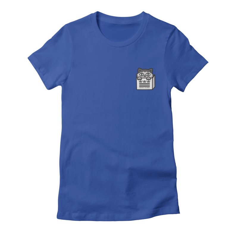 Swedish Columbia cat in a box small Women's Fitted T-Shirt by Swedish Columbia's Artist Shop