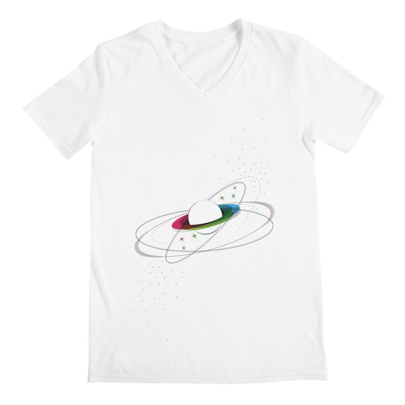 Prismatic Planet Men's V-Neck by swissette's Artist Shop