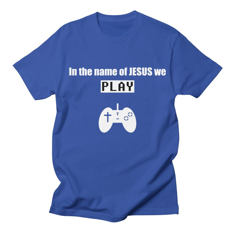 In the name of JESUS we Play - blk Men's Regular T-Shirt by SwordSharp.com Shop