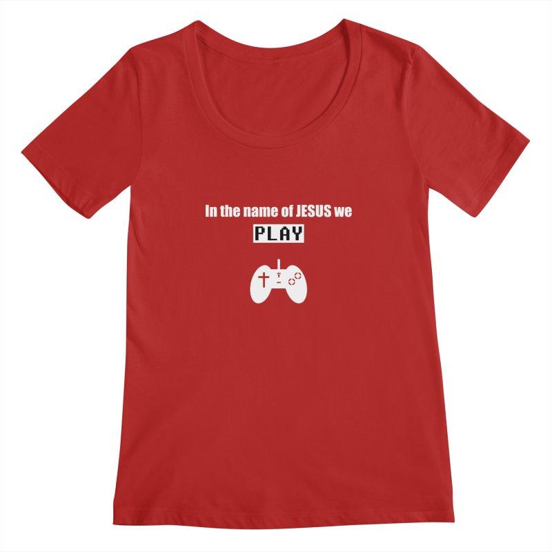 In the name of JESUS we Play - blk Women's Scoopneck by SwordSharp.com Shop