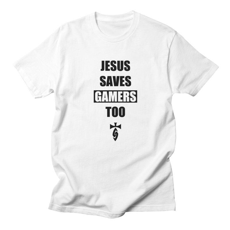 Jesus Saves Gamers Too! Men's T-shirt by SwordSharp.com Shop