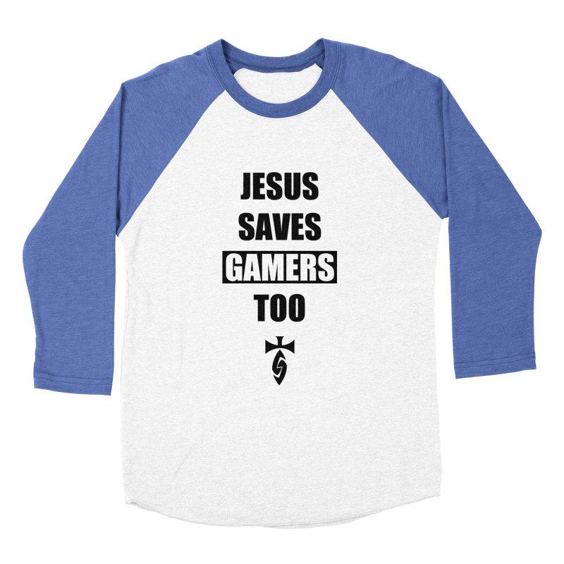 Jesus Saves Gamers Too! Men's Baseball Triblend Longsleeve T-Shirt by SwordSharp.com Shop