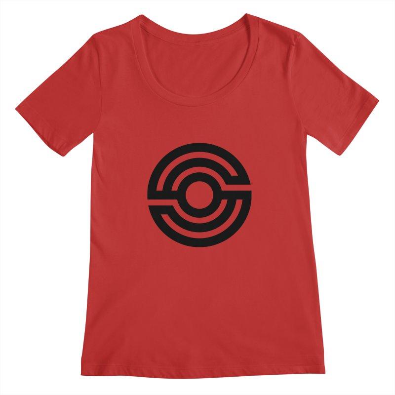 Handpan S Logo (Black) Women's Regular Scoop Neck by Handpan Merch (T-shirts, Hoodies, Accessories)