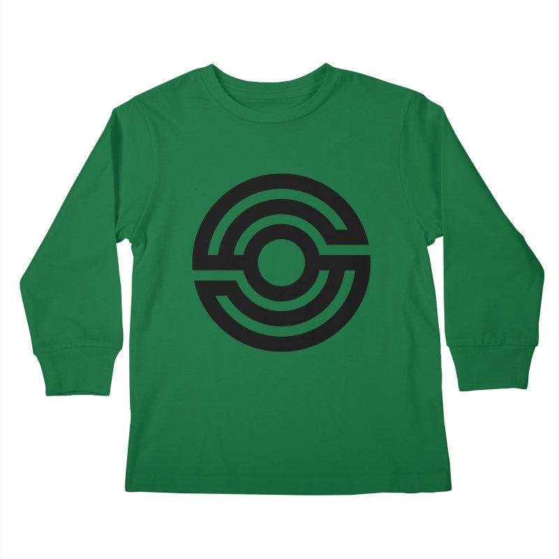 Handpan S Logo (Black) Kids Longsleeve T-Shirt by Handpan Merch (T-shirts, Hoodies, Accessories)