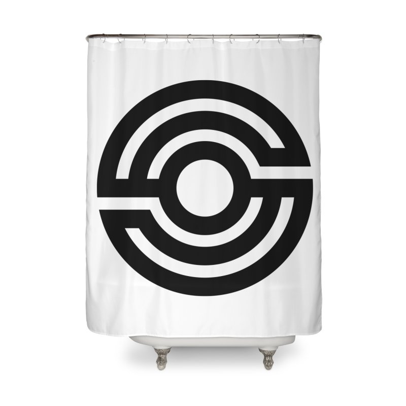 Handpan S Logo (Black) Home Shower Curtain by Handpan Merch (T-shirts, Hoodies, Accessories)