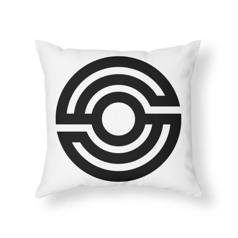 Handpan S Logo (Black) Home Throw Pillow by Handpan Merch (T-shirts, Hoodies, Accessories)