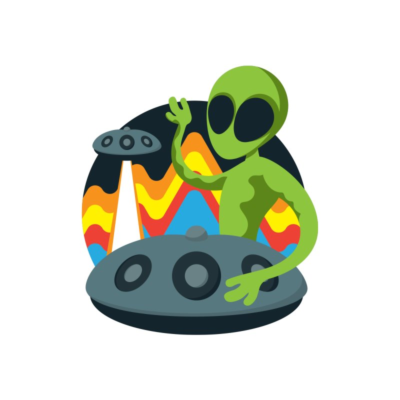 Green Alien Playing Handpan Accessories Skateboard by Handpan Merch (T-shirts, Hoodies, Accessories)