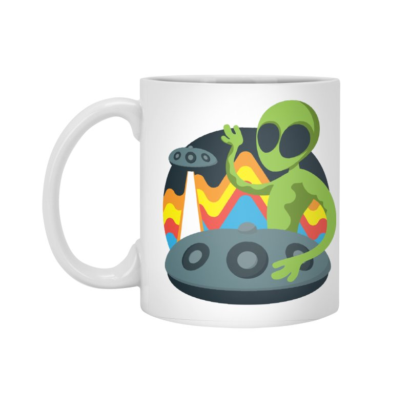 Green Alien Playing Handpan Accessories Standard Mug by Handpan Merch (T-shirts, Hoodies, Accessories)