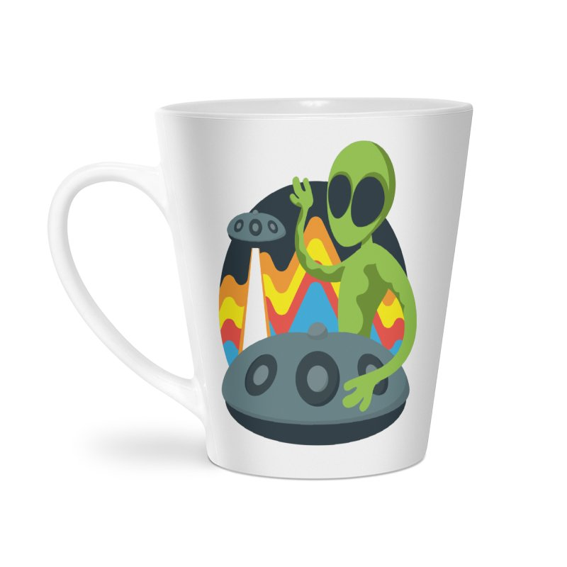 Green Alien Playing Handpan Accessories Latte Mug by Handpan Merch (T-shirts, Hoodies, Accessories)